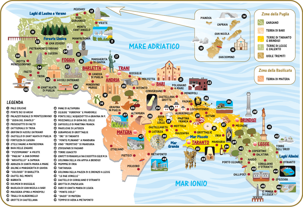 Cartina Puglia Con Tutti I Paesi.Cartina Puglia Dove Si Trova La Puglia Puglia Italy Tours